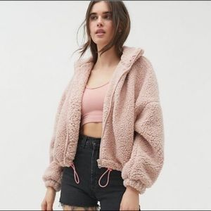 Urban Outfitters Willow Teddy Jacket Pink Size L